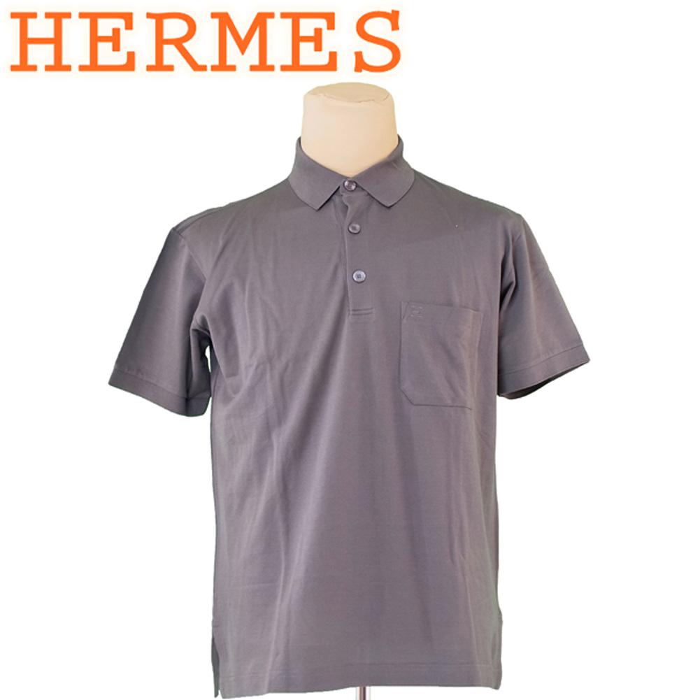 【中古】 エルメス HERMES ポロシャツ 半袖 メンズ ♯Mサイズ H刺繍 グレー 灰色 コットンCOTTON/100% 美品 セール T5328 .