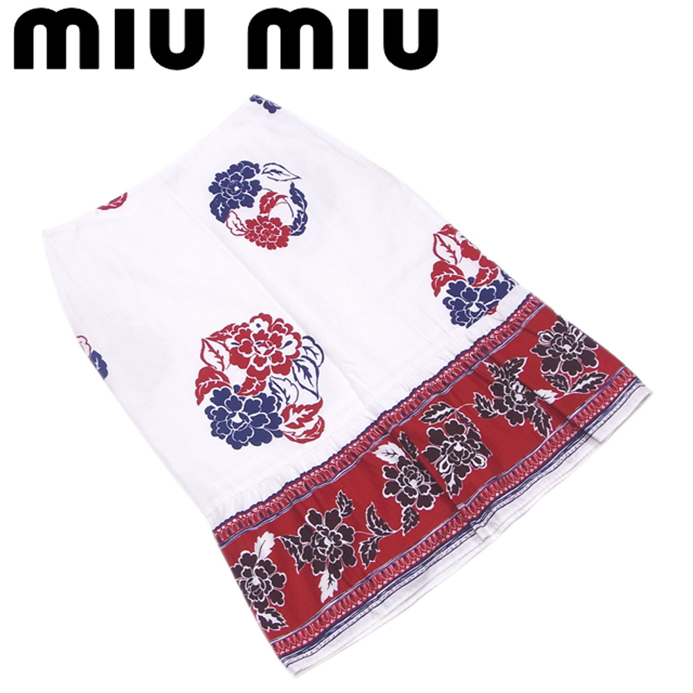 【中古】 ミュウミュウ miu miu スカート セミフレアー レディース ♯38サイズ フラワープリント ホワイト 白 レッド ネイビー系 コットン綿100% 美品 セール T5364