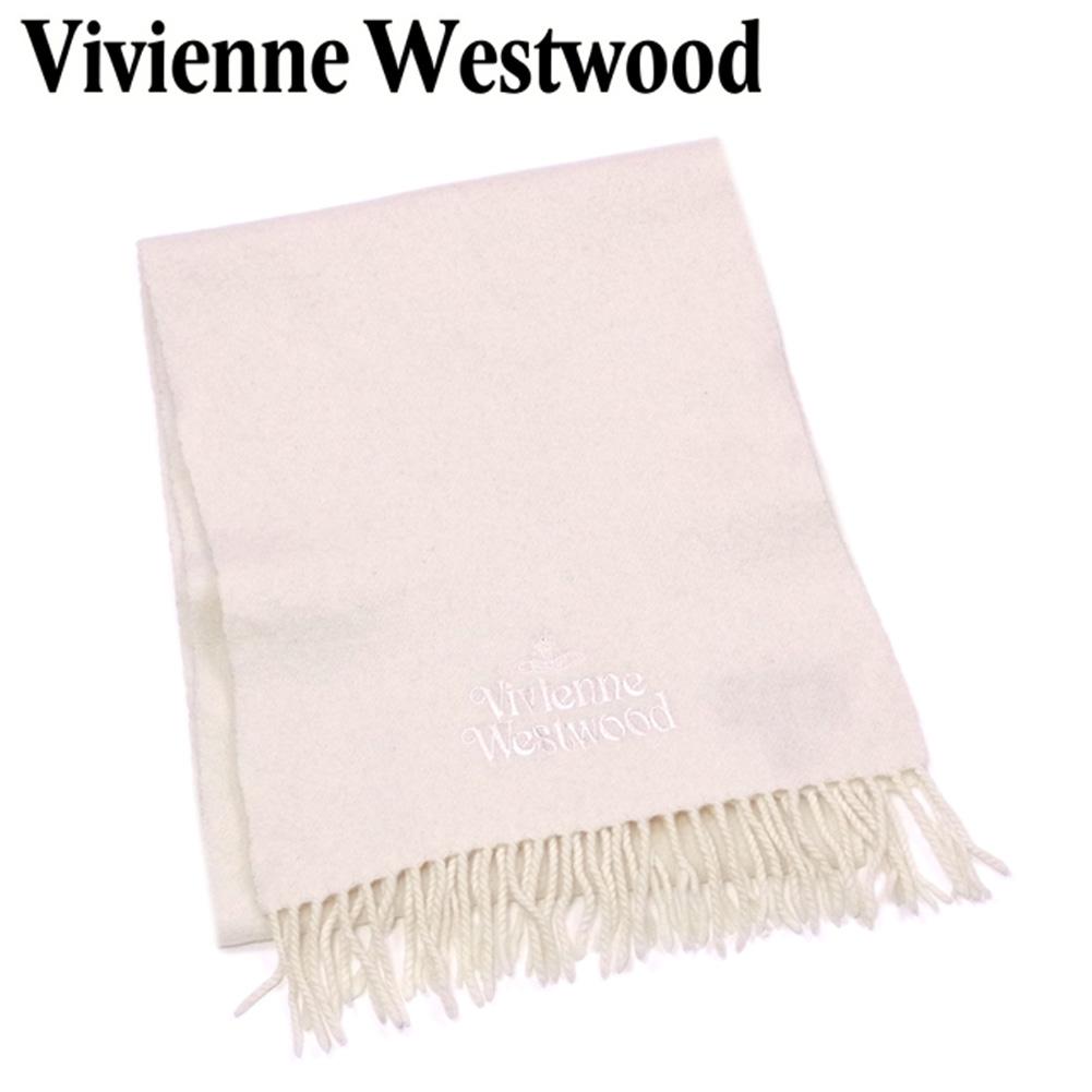 【中古】 ヴィヴィアン ウエストウッド Vivienne Westwood マフラー フリンジ付き レディース メンズ 可 ベージュ ウール100% T5422 .