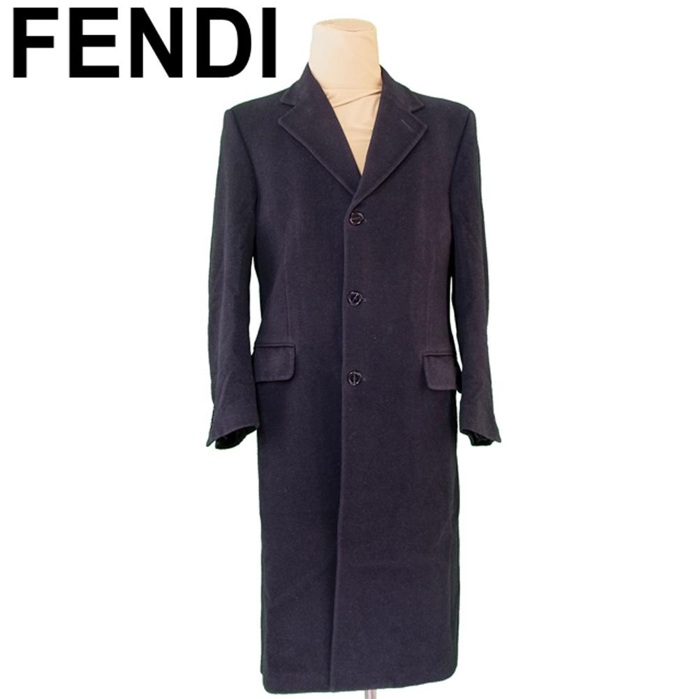 【中古】 フェンディ FENDI コート ロング メンズ シングルボタン テーラード ブラック ウールWO/100%(裏地)レーヨンRY/100% 人気 セール T5458 .