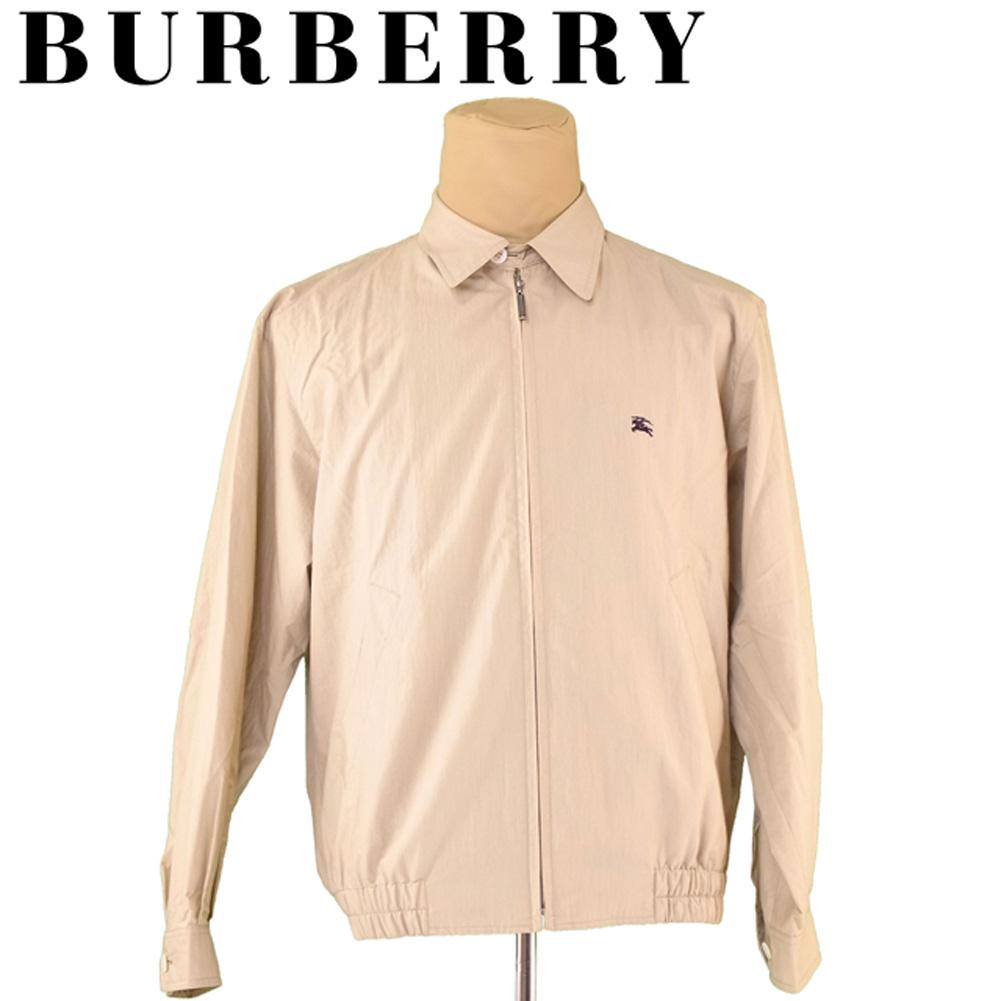 【スーパーセール】 【20%オフ】 【中古】 バーバリー BURBERRY ジャケット ブルゾン アウター メンズ ♯LLサイズ ホース刺繍 ベージュ ネイビー コットン綿55%ナイロン45% T5524