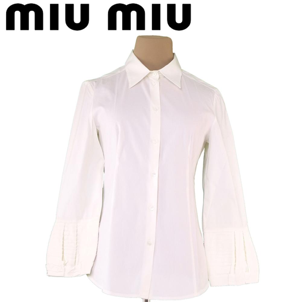 【中古】 ミュウミュウ miu miu シャツ レディース ♯40サイズ 袖ティアード ホワイト 白 コットン綿72%ナイロン22%エラステイン6% 良品 セール T5584