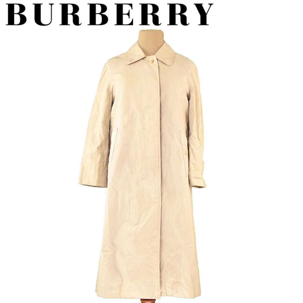 【中古】 バーバリー BURBERRY コート シングル ロング レディース ノバチェック柄ライナー付き ステンカラー ベージュ コットン綿100%(胴裏)綿(袖裏)レーヨン(ライナー)ウール毛100% 人気 セール T5603