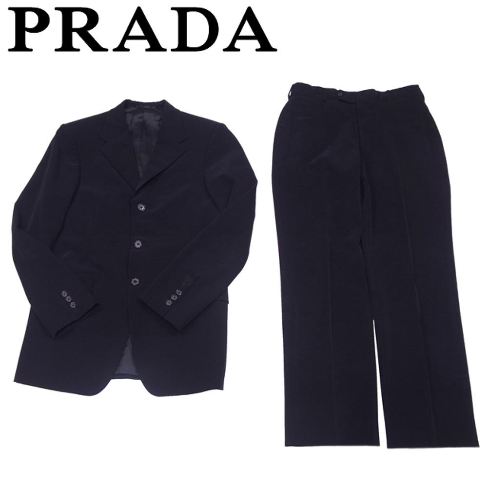 【中古】 プラダ PRADA スーツ センタープレス メンズ ♯46サイズ テーラージャケット ブラック ポリエステル90%ポリウレタン10%(裏地)レーヨンRY 100% T5614 .