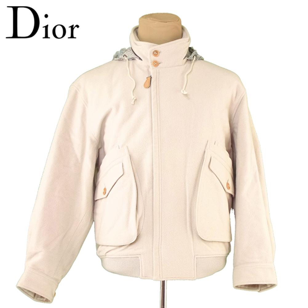 【中古】 ディオール ムッシュ Dior MONSIEUR ジャケット ブルゾン アウター メンズ ♯Lサイズ 中綿入り ジップアップ ベージュ グリーン系 毛90%ナイロン10%(裏身頃)綿100%(袖裏)ポリエステル50%キュプラ50%(中綿)ポリエステル100% 良品 セール T5661 .