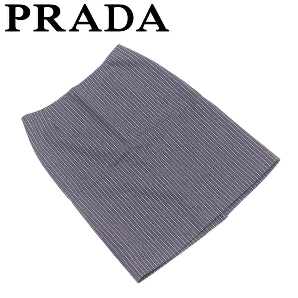 【中古】 プラダ PRADA スカート タイト 後スリット入り レディース ♯38サイズ ストライプ グレー 灰色 ブラック系 コットン綿100%(裏地)キュプラ100% 美品 セール T5665 .