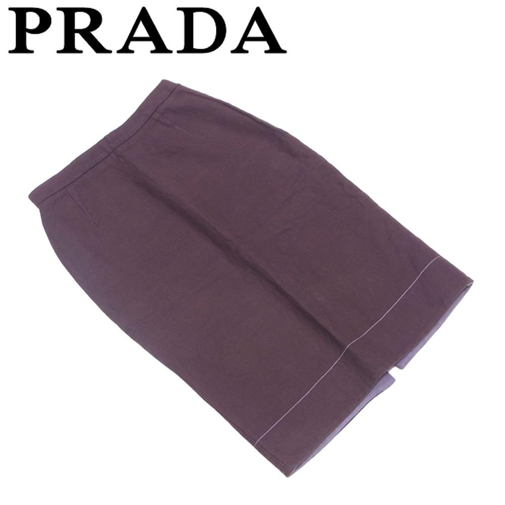 【中古】 プラダ PRADA スカート 後スリット入り レディース ♯40サイズ タイト ブラウン コットン綿100% 人気 セール T5666 .