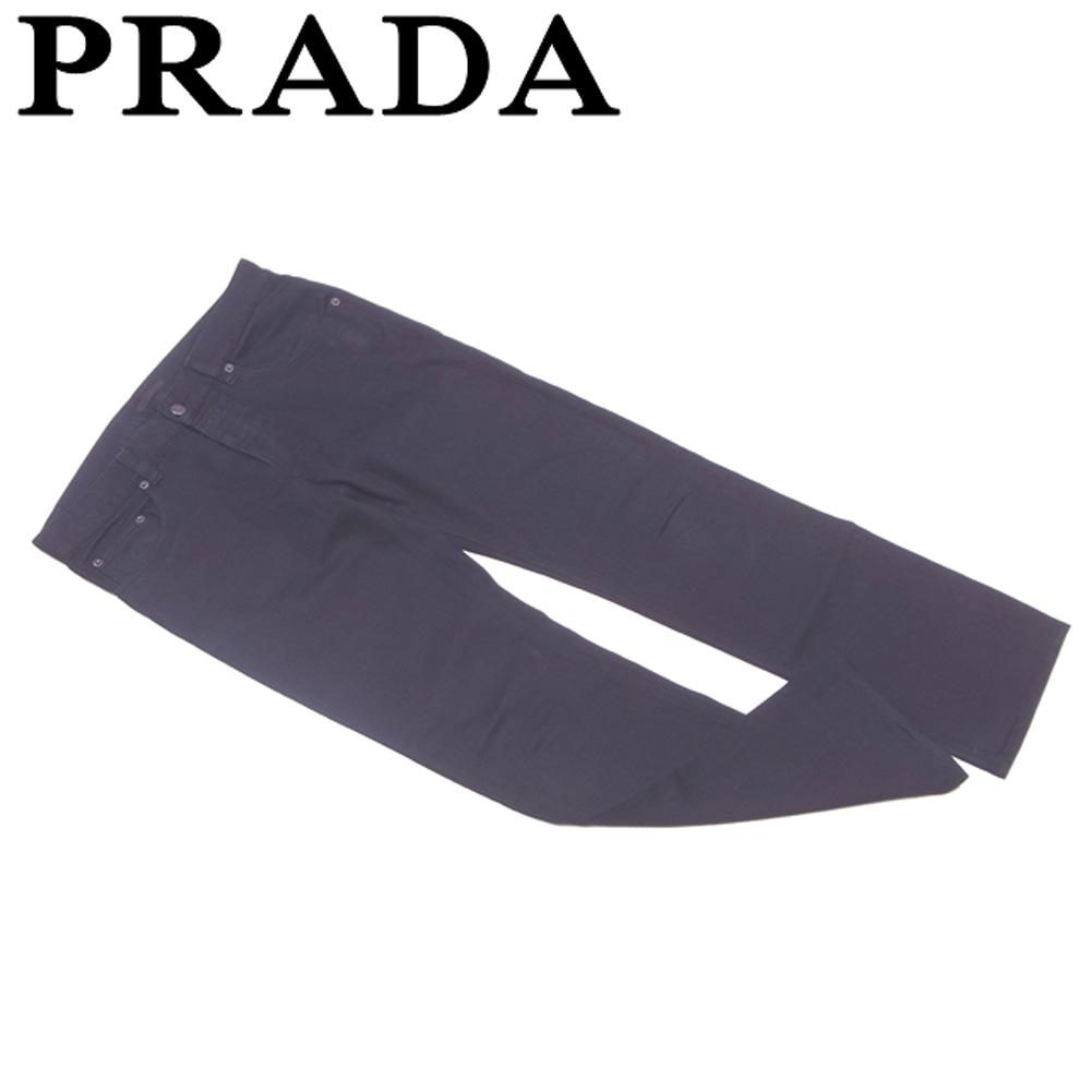 【中古】 プラダ PRADA パンツ レディース メンズ 可 ♯29サイズ ストレート ブラック コットン綿100%(ポケット裏地)綿100% 人気 セール T5678 .
