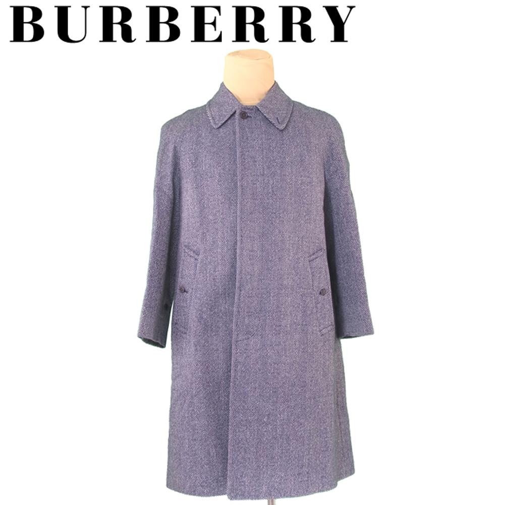【中古】 バーバリー BURBERRY コート シングル ロング メンズ ♯Mサイズ ネイビー系 ウール毛100%(裏地)キュプラ T5685 .