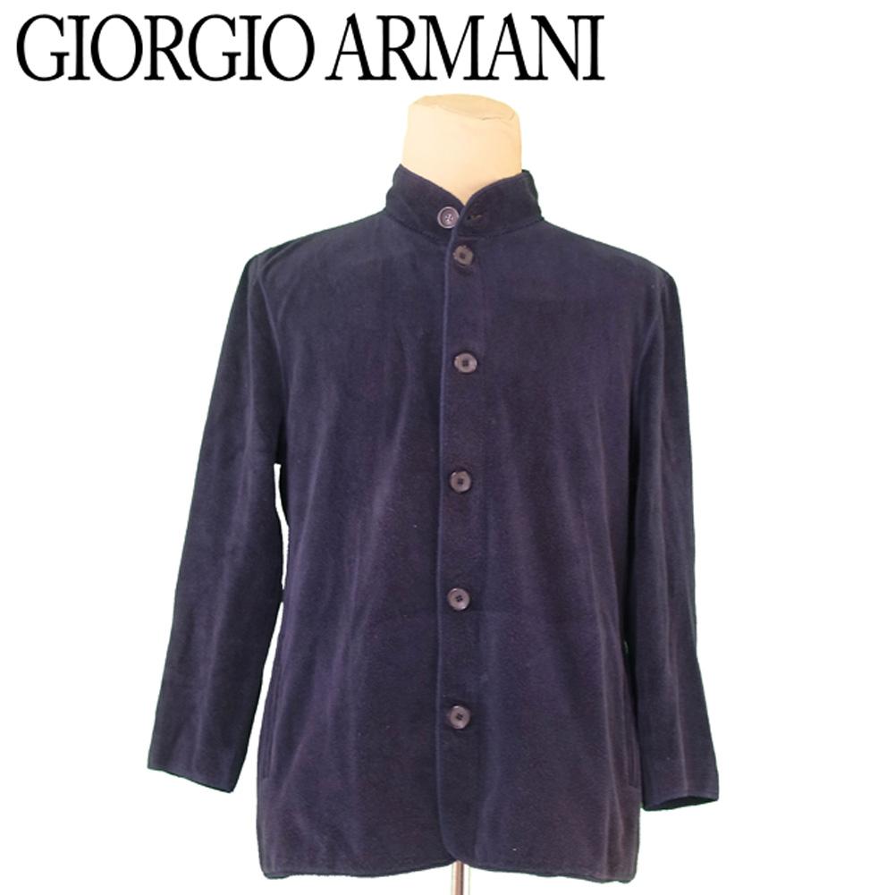 【中古】 ジョルジオ アルマーニ GIORGIO ARMANI ジャケット スタンドカラー メンズ ♯58サイズ パイル ネイビー ブラック コットンCO/84%ナイロンNY/16% 人気 セール T5689 .