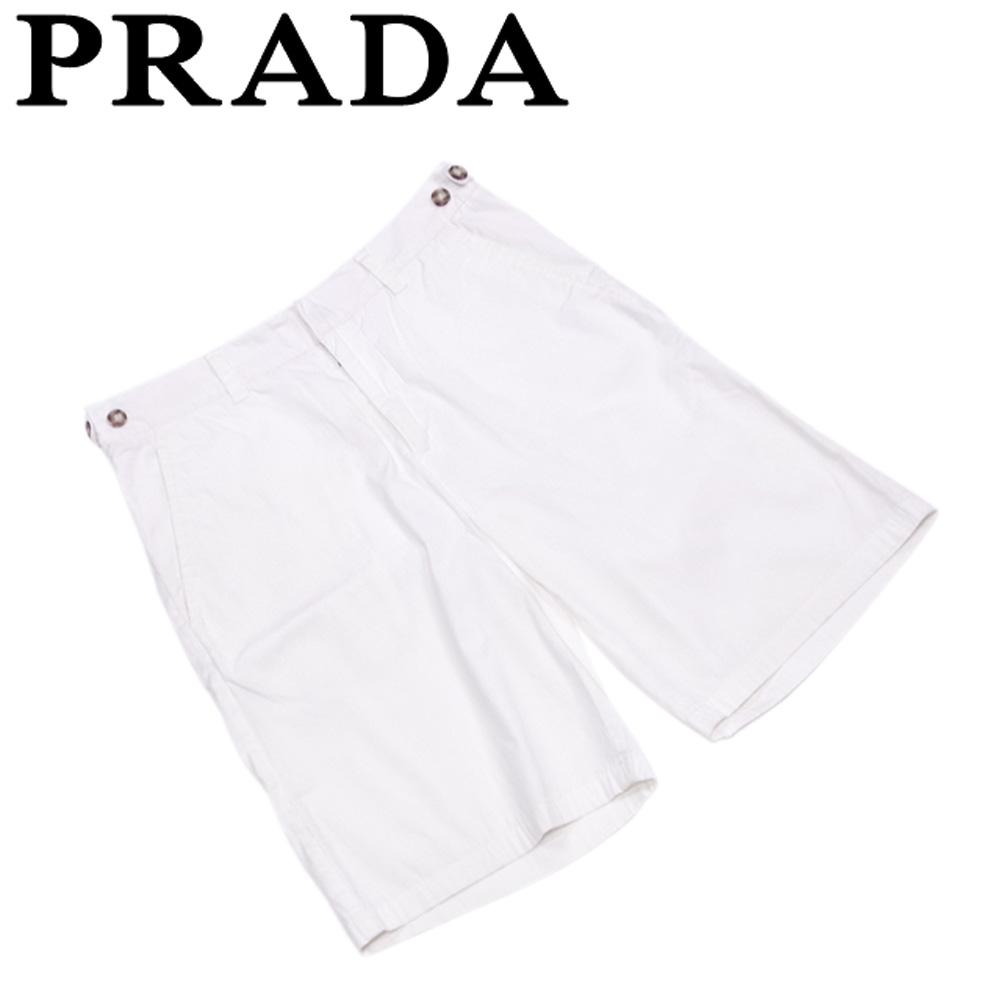 【中古】 プラダ PRADA パンツ レディース メンズ 可 ♯44サイズ ハーフ ホワイト 白 ブラウン コットン綿76%ナイロン17%エラステイン7% 良品 セール T5747 .