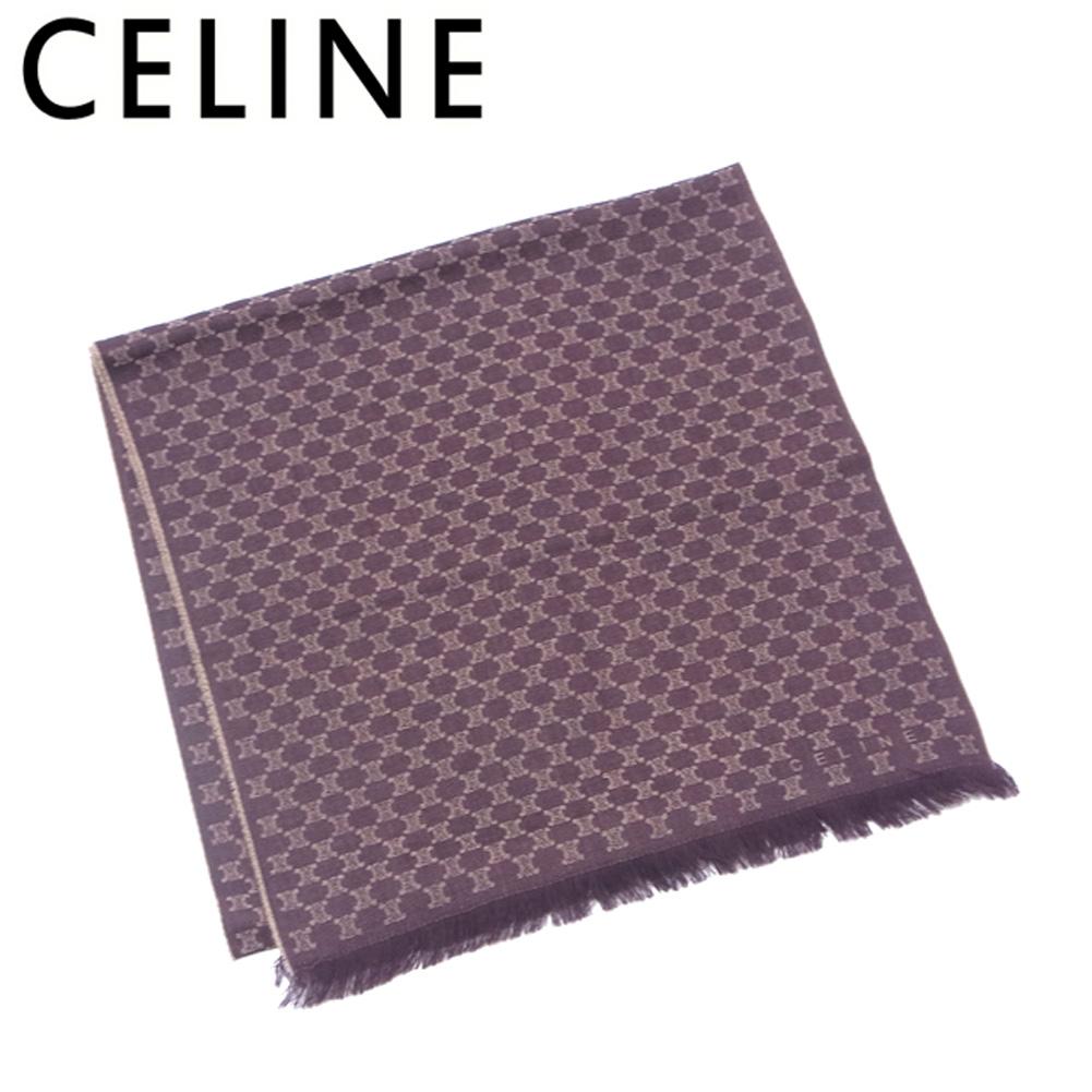 【中古】 セリーヌ CELINE ストール フリンジ付き レディース メンズ 可 ブラウン ベージュ ウール100% T5862
