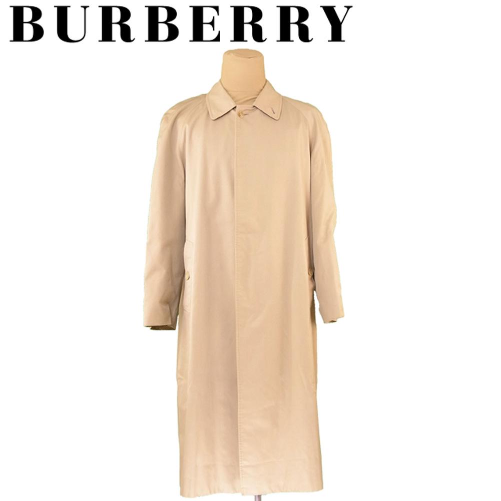 【中古】 バーバリー BURBERRY コート シングル ロング メンズ ♯40サイズ ステンカラー ベージュ コットンCO/51%ポリエステルPL/49%(裏地)ポリエステルPL/50%コットンCO/50% 良品 セール T5936