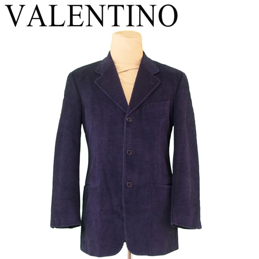 【中古】 ヴァレンティノ ウオモ VALENTINO UOMO ジャケット 3つボタン メンズ テーラード コーデュロイ ネイビー ブラック コットンCO/72%ウールWO/28%(裏地)ヴィスコースVI/100% 人気 セール T6115 .