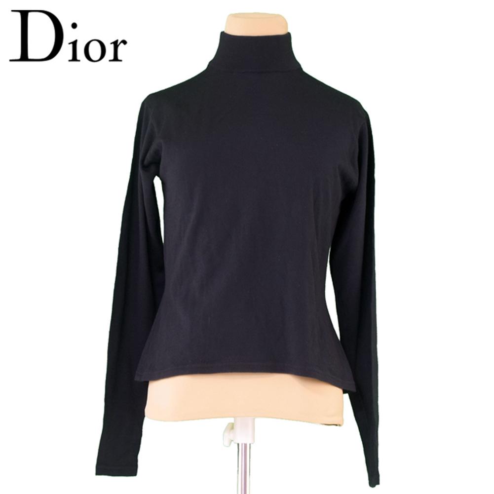 【中古】 ディオール Dior ニット セーター レディース ♯Lサイズ スポーツ ブラック ウール毛100% T6460