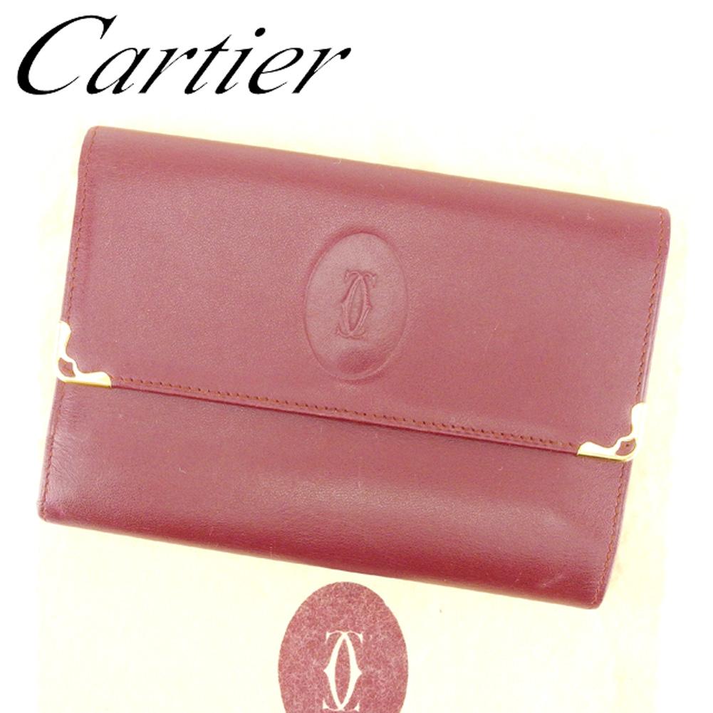 【中古】 カルティエ Cartier 三つ折り 財布 がま口財布 レディース メンズ 可 マストライン ボルドー レザー 人気 良品 T6714 .