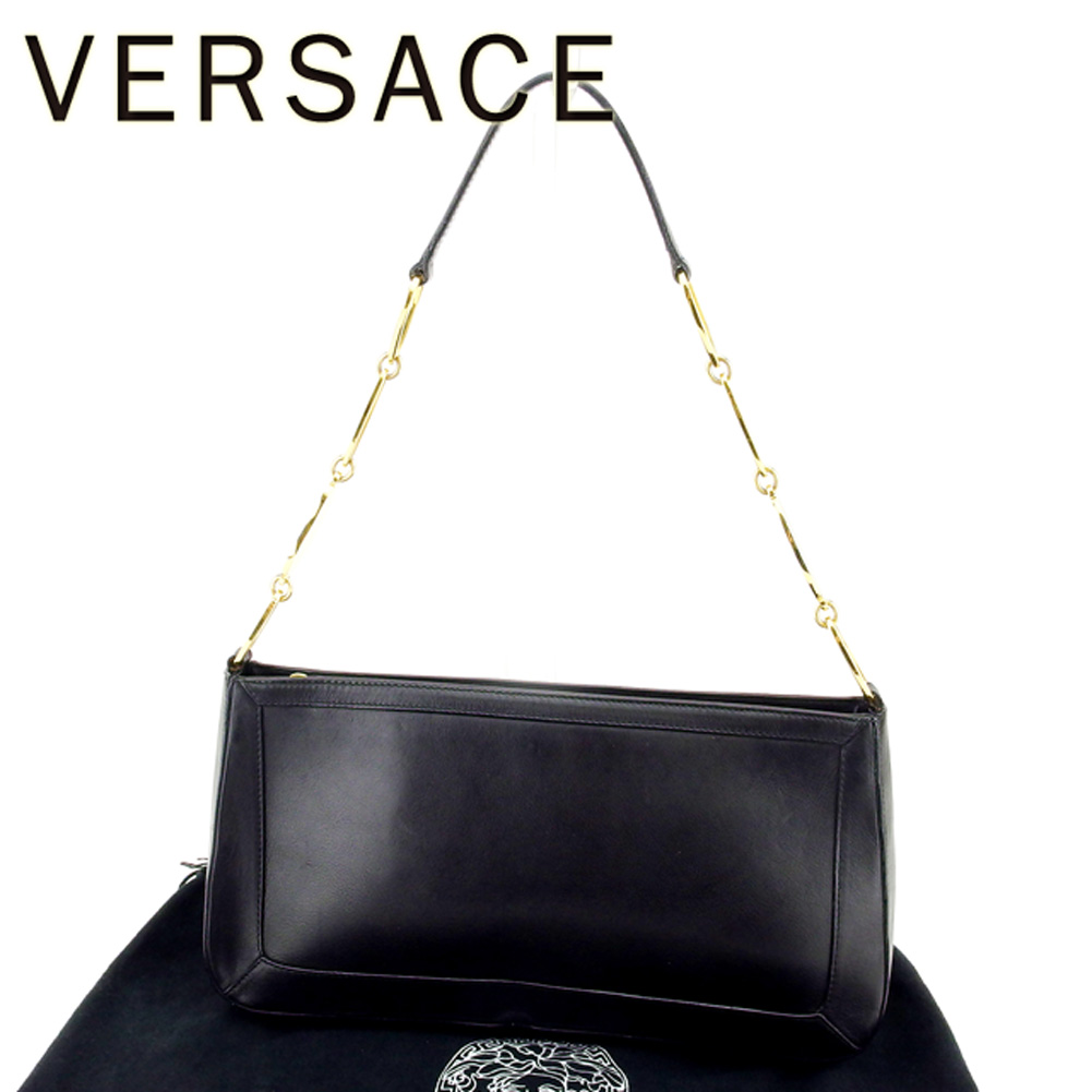 098e4f77232b Versace VERSACE shoulder bag one shoulder Lady s Medusa black gold leather  beauty product sale T6715
