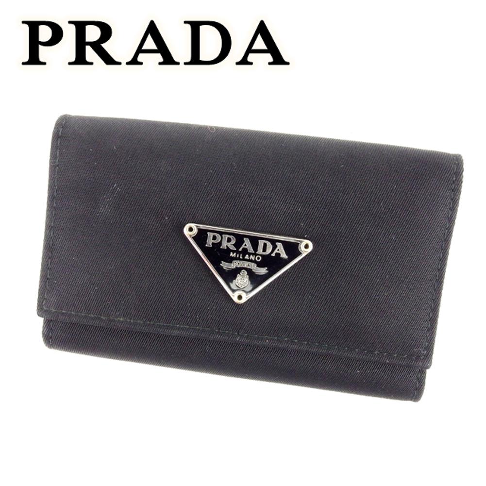 【中古】 プラダ PRADA キーケース 6連キーケース レディース メンズ 可 トライアングルロゴ ブラック ナイロン×レザー 人気 セール T6729 .
