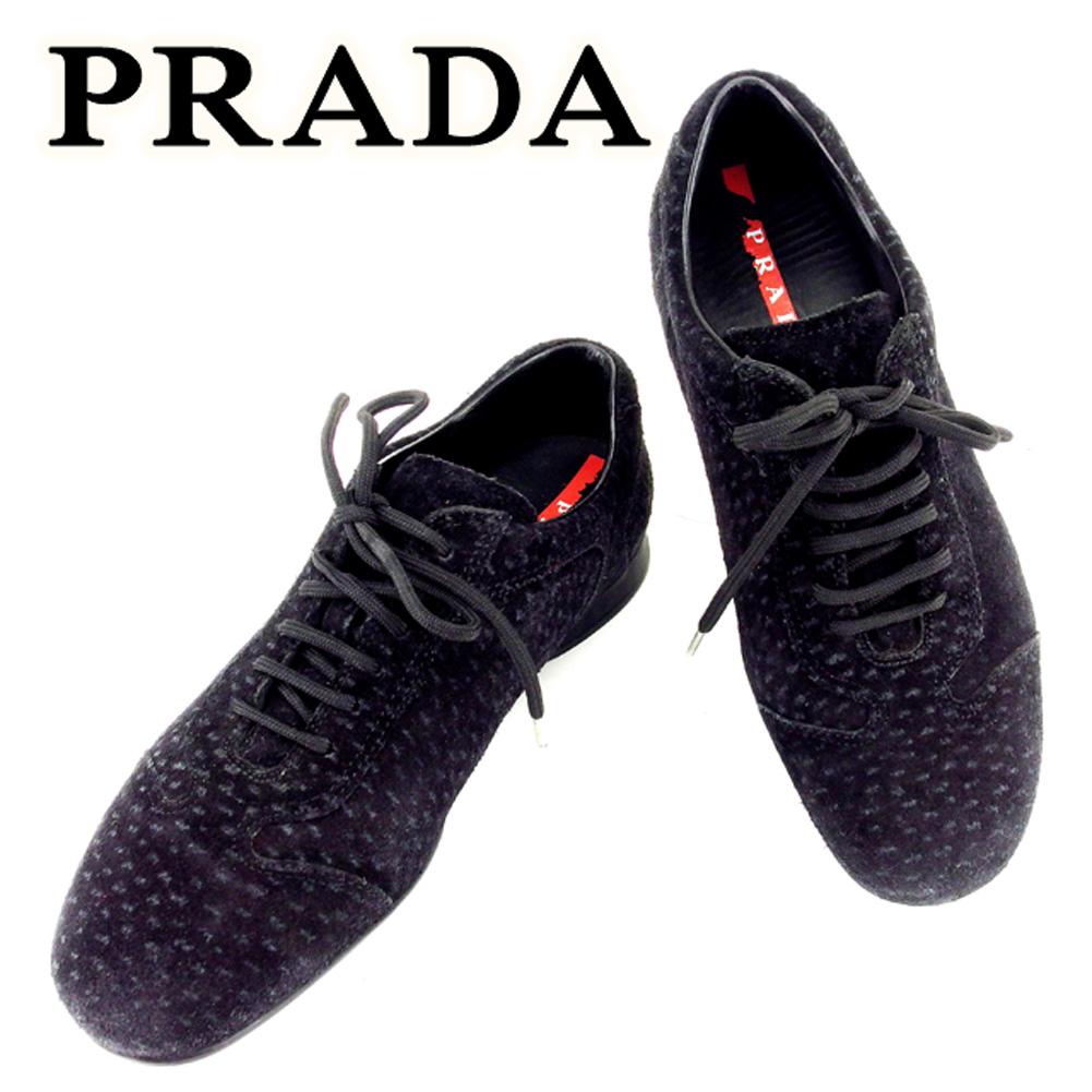 【中古】 プラダ PRADA スニーカー 靴 シューズ レディース #35 ブラック スエード T6731