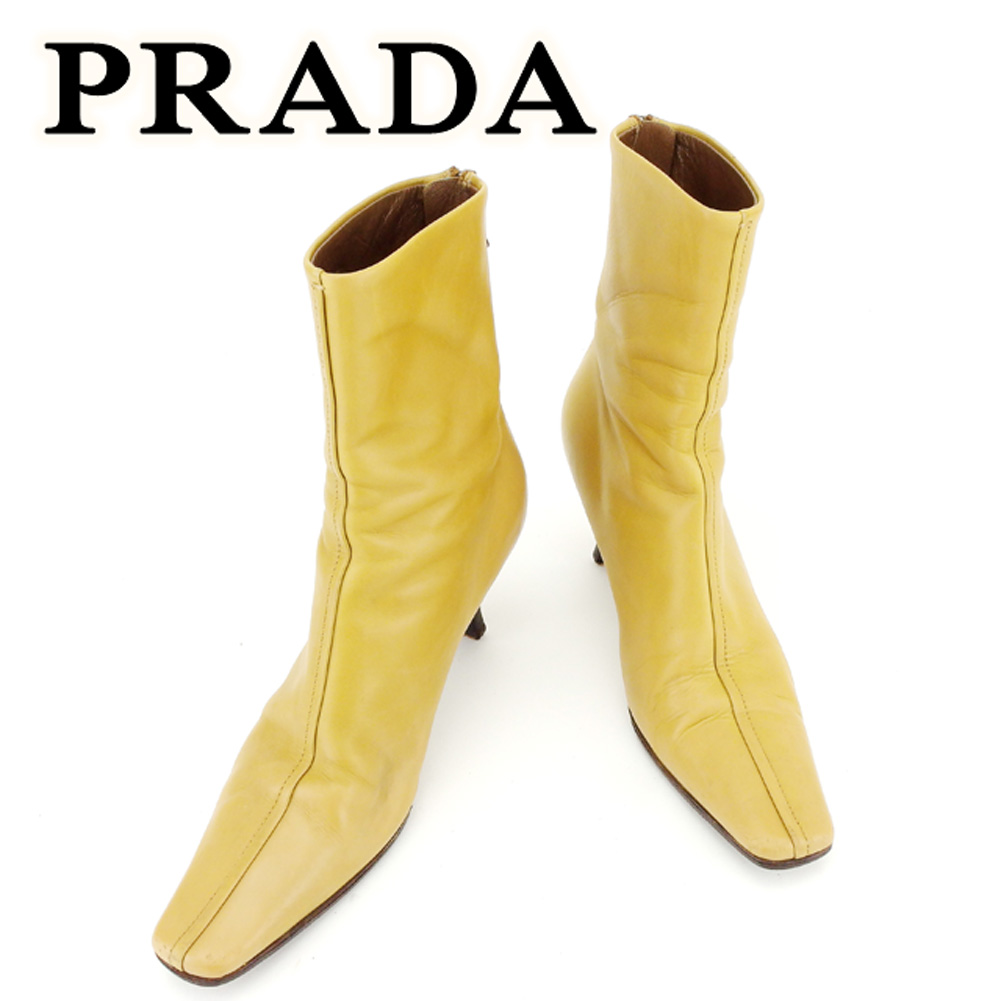 【中古】 プラダ PRADA ブーツ 靴 シューズ メンズ可 #35 ベージュ レザー 人気 セール T6740 .