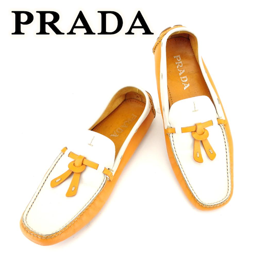 【中古】 プラダ PRADA シューズ 靴 シューズ メンズ可 #38 ホワイト 白 オレンジ レザー 人気 セール T6741 .