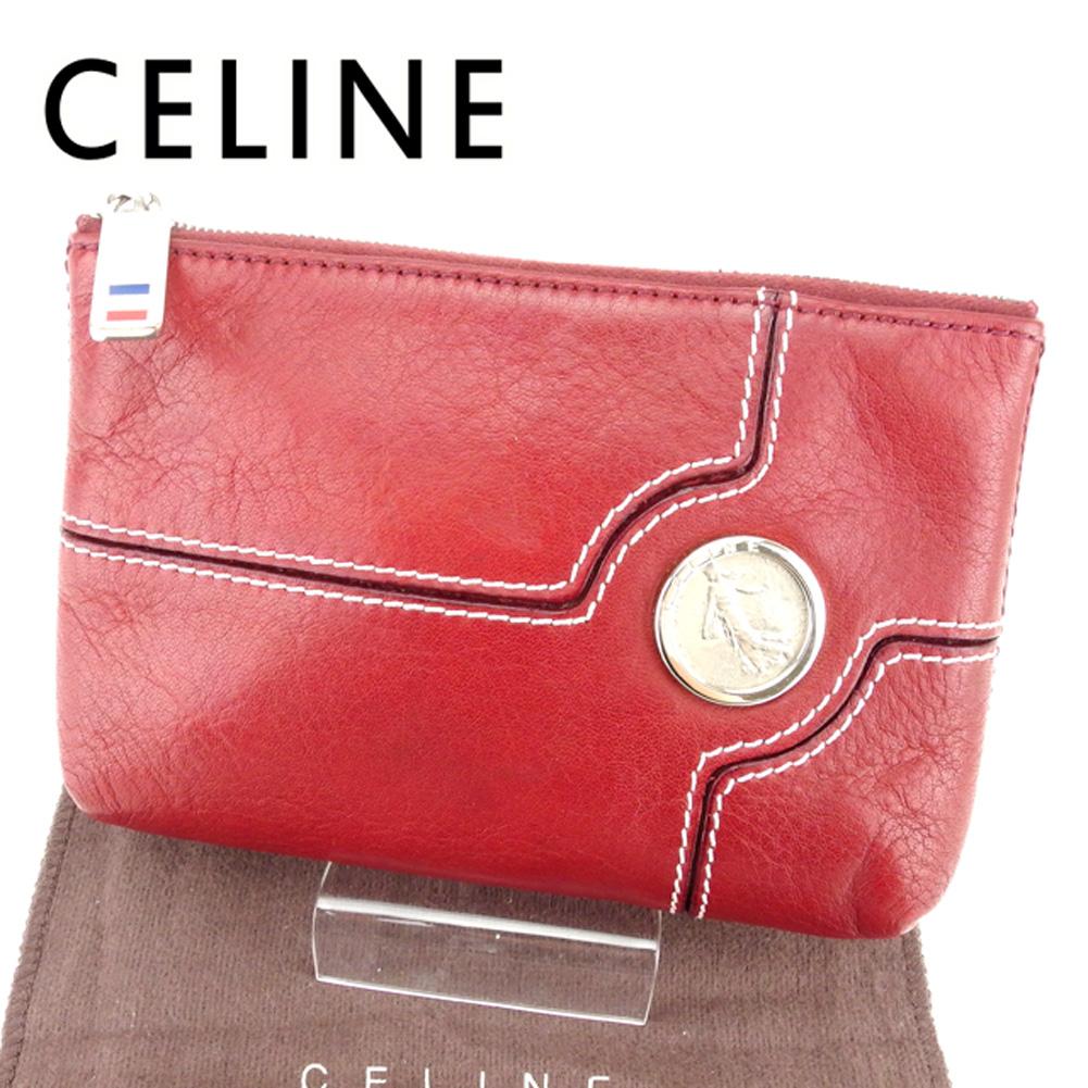 【中古】 セリーヌ CELINE ポーチ 化粧ポーチ レディース メンズ 可 レッド レザー T6750