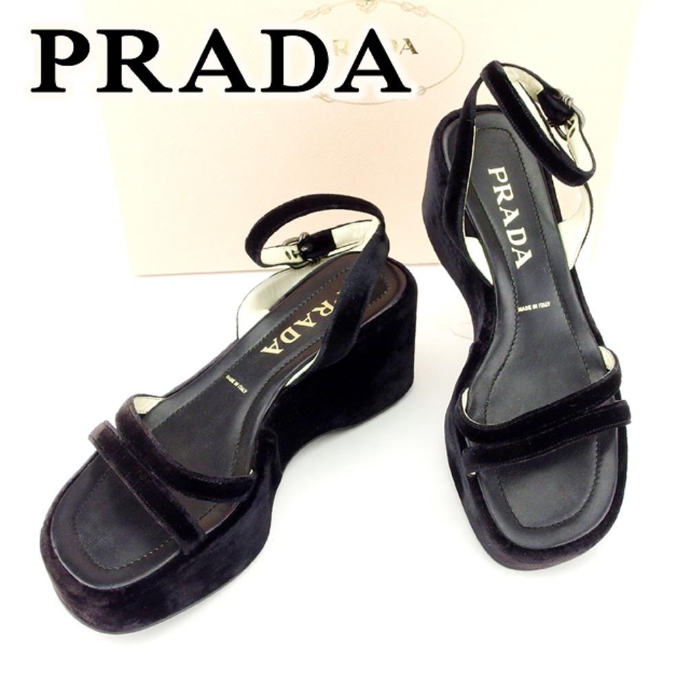 【中古】 プラダ PRADA サンダル 靴 シューズ メンズ可 #36 ブラック ベロア 人気 良品 T6752 .
