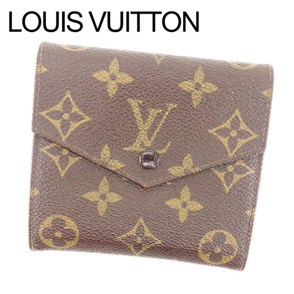 【中古】 ルイ ヴィトン Louis Vuitton Wホック 財布 廃盤レア メンズ可 ポルトモネビエ(旧タイプ) モノグラム ブラウン モノグラムキャンバス 廃盤 レア 人気 T6755 .