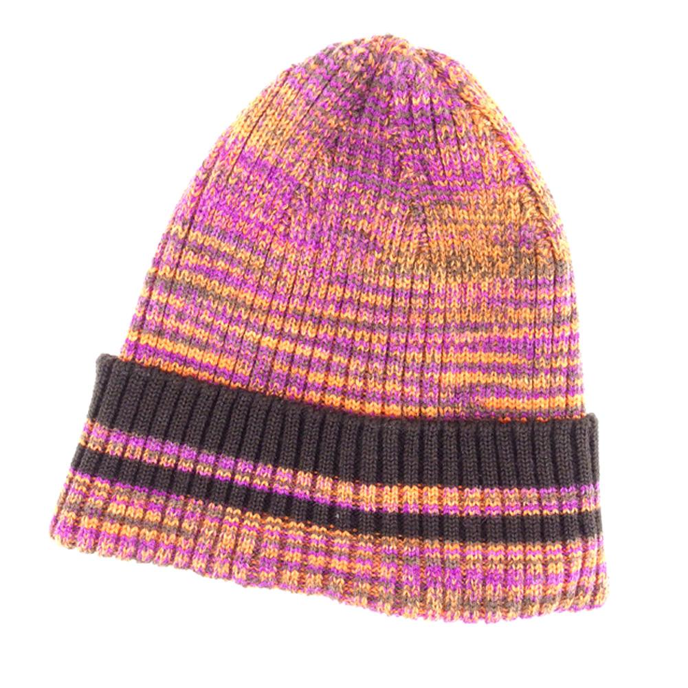 【中古】 ミッソーニ MISSONI ニット帽 帽子 レディース メンズ 可 オレンジ パープル ウール×ポリエステルニット帽 T6758s .