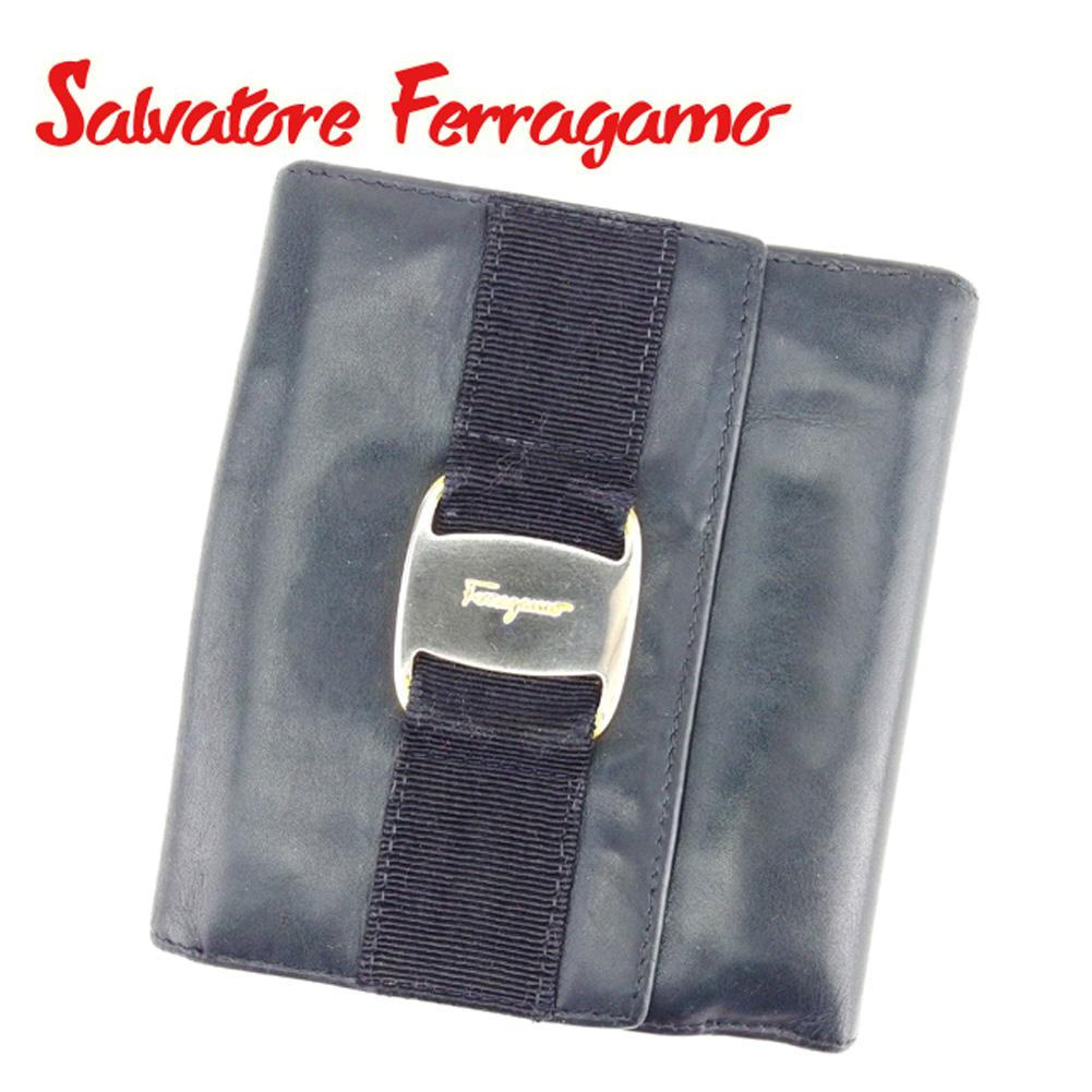 【中古】 サルヴァトーレ フェラガモ Salvatore Ferragamo Wホック 財布 二つ折り 財布 メンズ可 ヴァラ金具 ネイビー レザー 人気 セール T6759