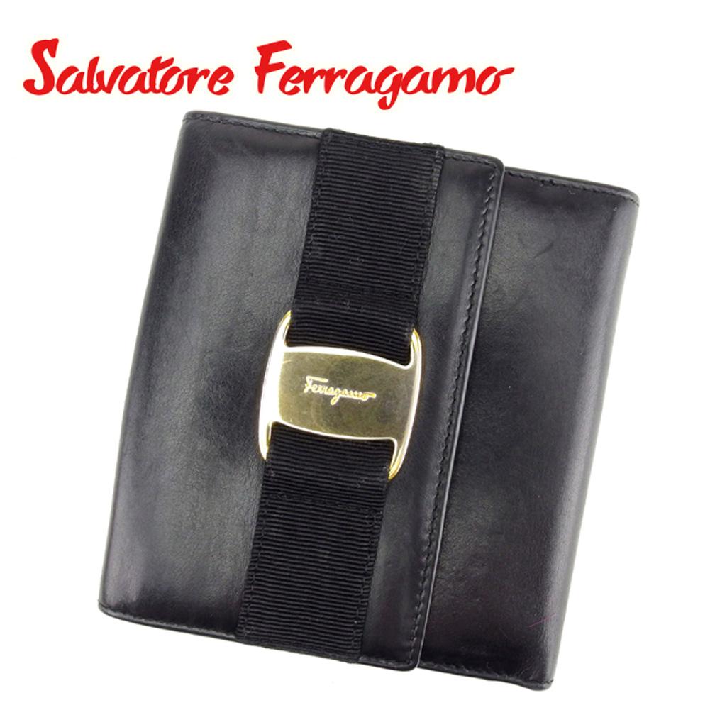 【中古】 サルヴァトーレ フェラガモ Salvatore Ferragamo Wホック 財布 二つ折り 財布 メンズ可 ヴァラ金具 ブラック レザー 人気 セール T6760