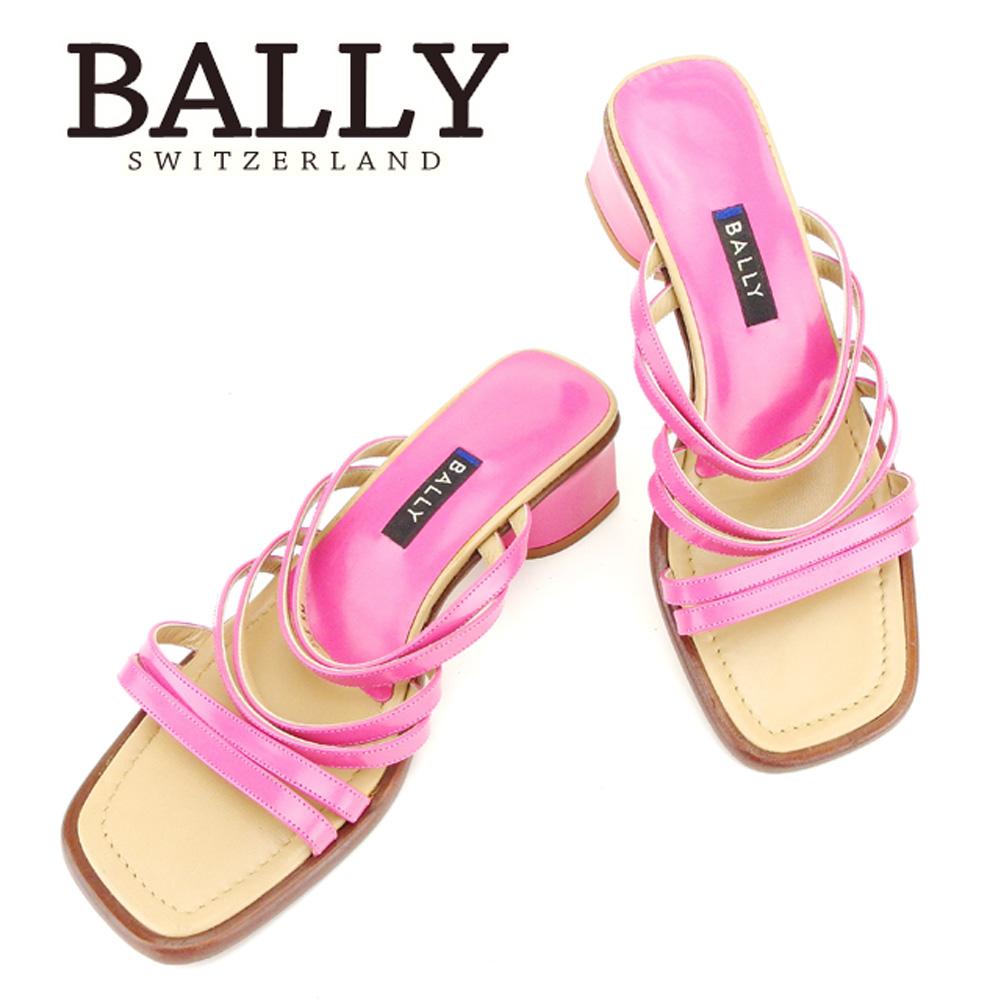 【中古】 バリー BALLY サンダル 靴 シューズ メンズ可 #5 ピンク ベージュ エナメル×レザー 人気 セール T6762 .