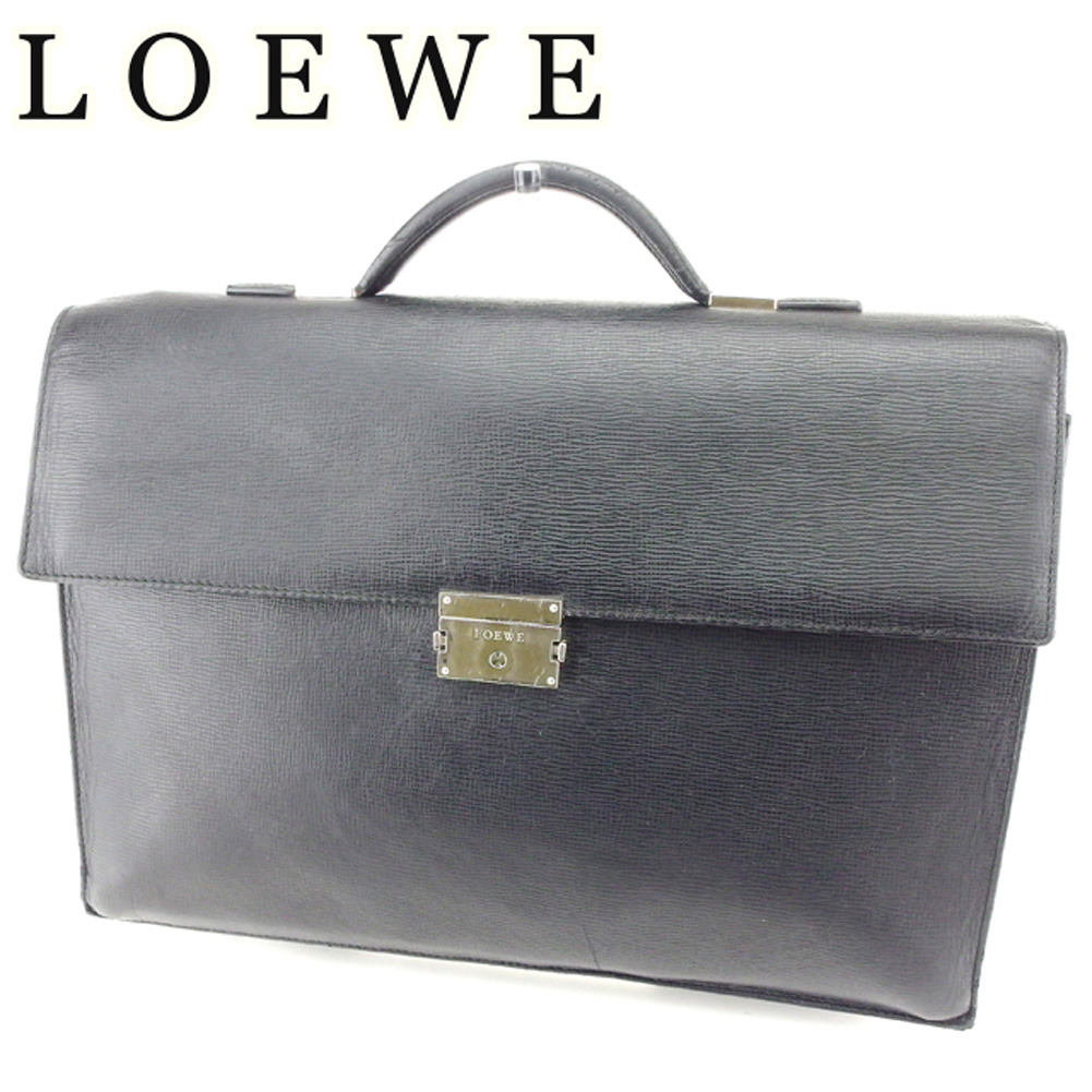 6a40b612a09 Loewe LOEWE business bag briefcase men logo plate black silver leather  business bag T6768s ...