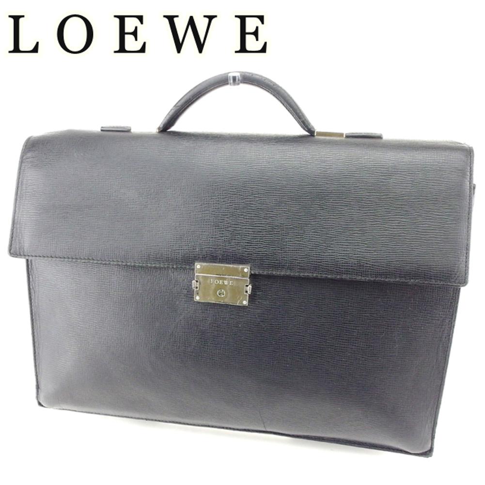 【中古】 ロエベ LOEWE ビジネスバッグ ブリーフケース メンズ ロゴプレート ブラック シルバー レザー 人気 セール T6768