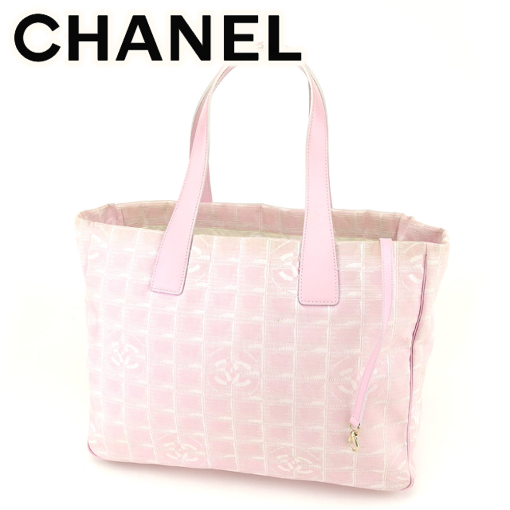 0fa2c2843e3c9f Chanel CHANEL tote bag shoulder bag Lady's Thoth MM current style bell line  pink gold nylon jacquard X leather vintage beauty product T6769