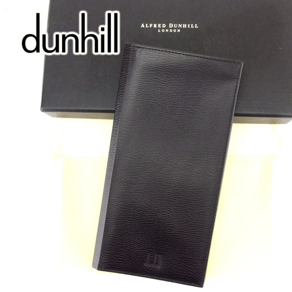 【中古】 ダンヒル dunhill 長札入れ 札入れ メンズ ロゴ ブラック レザー 訳あり 美品 T6772 .