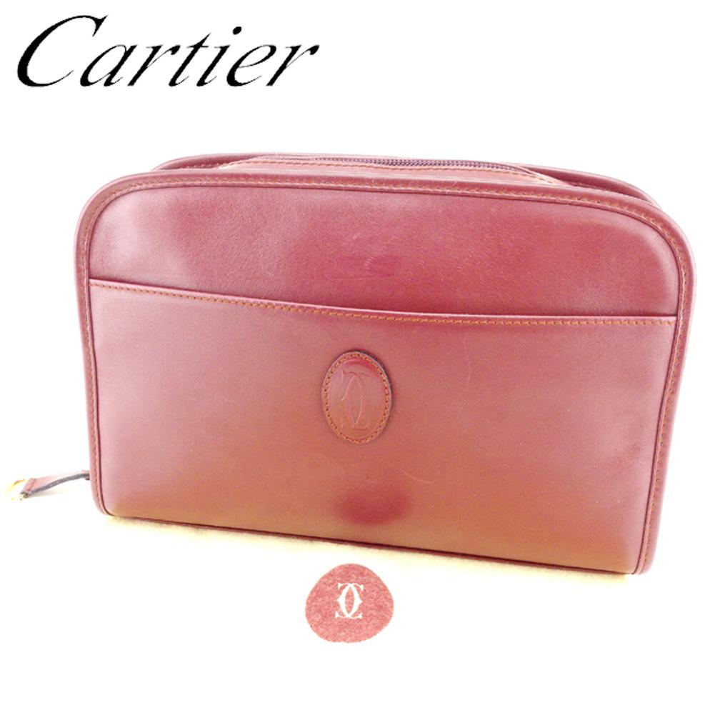 【中古】 カルティエ Cartier クラッチバッグ セカンドバッグ レディース メンズ 可 マストライン ボルドー ゴールド系 レザー 人気 セール T6798 .