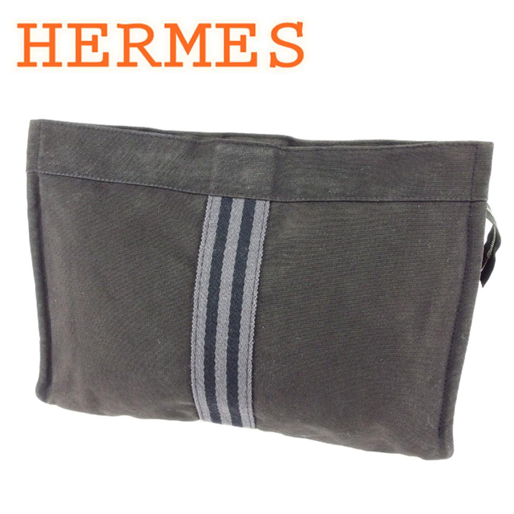 【中古】 エルメス HERMES クラッチバッグ セカンドバッグ ポーチ レディース メンズ 可 フールトゥ ブラック グレー 灰色 コットンキャンバス 人気 セール T6810