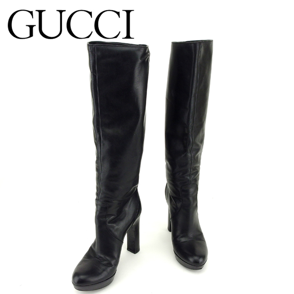 3d97f5c3a0f0 Gucci GUCCI boots shoes shoes lady s long black gold leather boots T6824s
