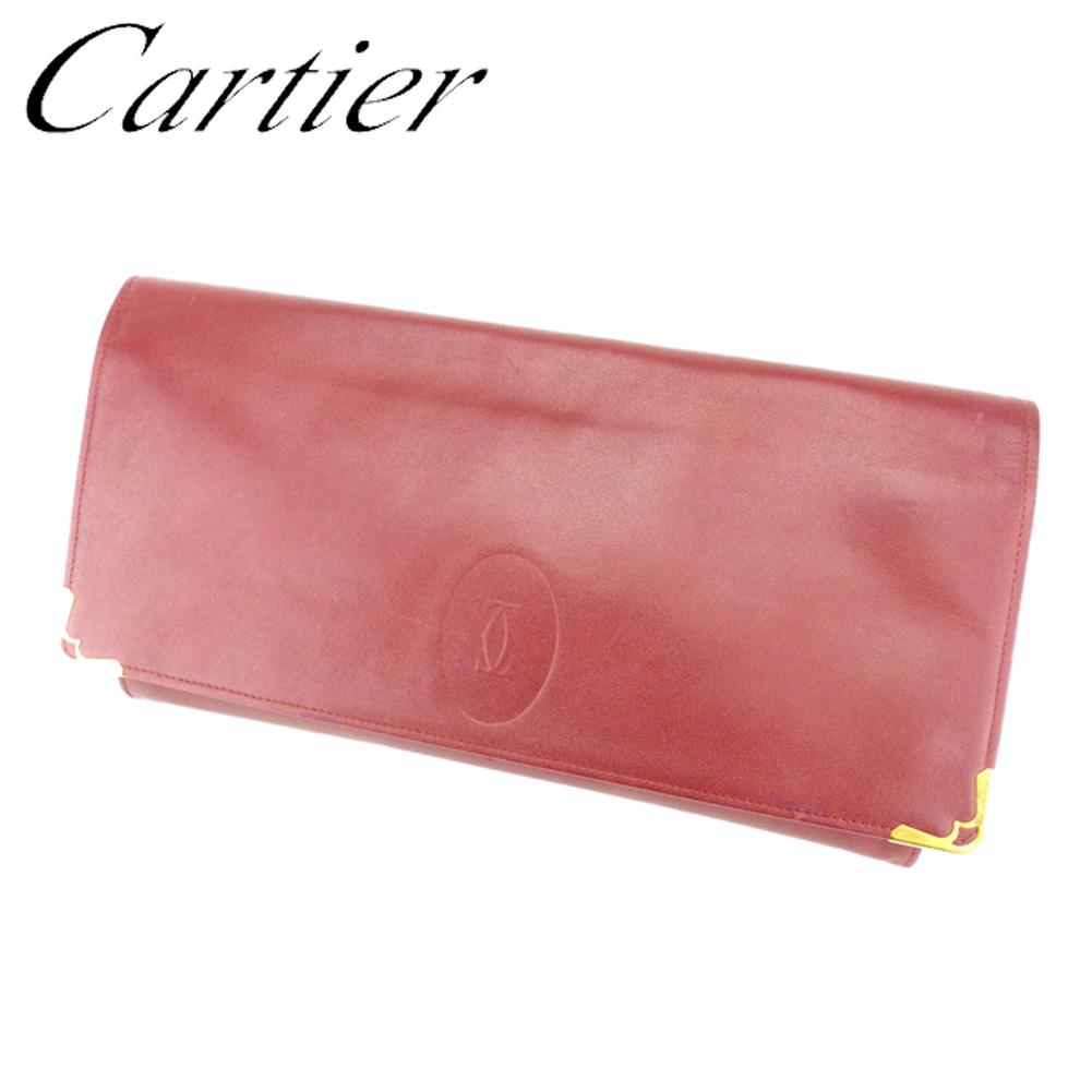 【中古】 カルティエ Cartier クラッチバッグ セカンドバッグ レディース メンズ 可 マストライン ボルドー ゴールド レザー 人気 セール T6833