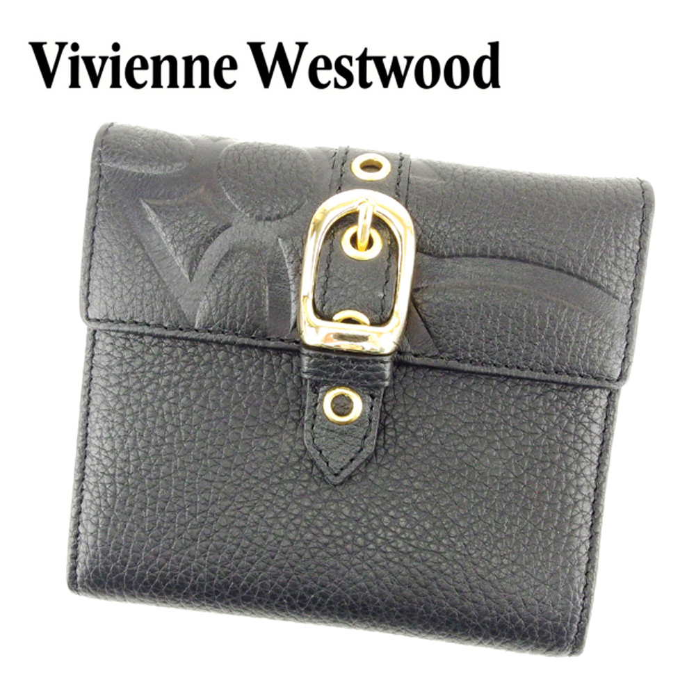 【中古】 ヴィヴィアン ウエストウッド Vivienne Westwood 三つ折り 財布 二つ折り 財布 レディース メンズ 可 オーブ ブラック レザー 未使用品 セール T6852 .