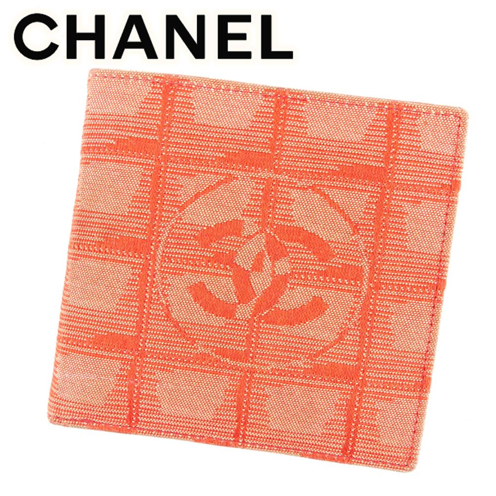 【中古】 シャネル CHANEL 二つ折り 財布 レディース ニュートラベルライン レッド キャンバス×レザー ヴィンテージ レア T6855