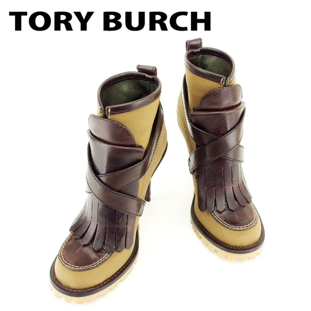 6061f7ded9 Tolly Birch Tory Burch boots shoes shoes Lady's brown nylon X leather boots  T6862s ...