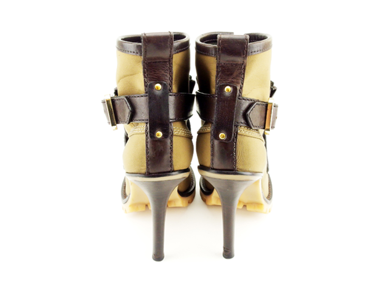 c2bad70543 ... Tolly Birch Tory Burch boots shoes shoes Lady's brown nylon X leather  boots T6862s ...