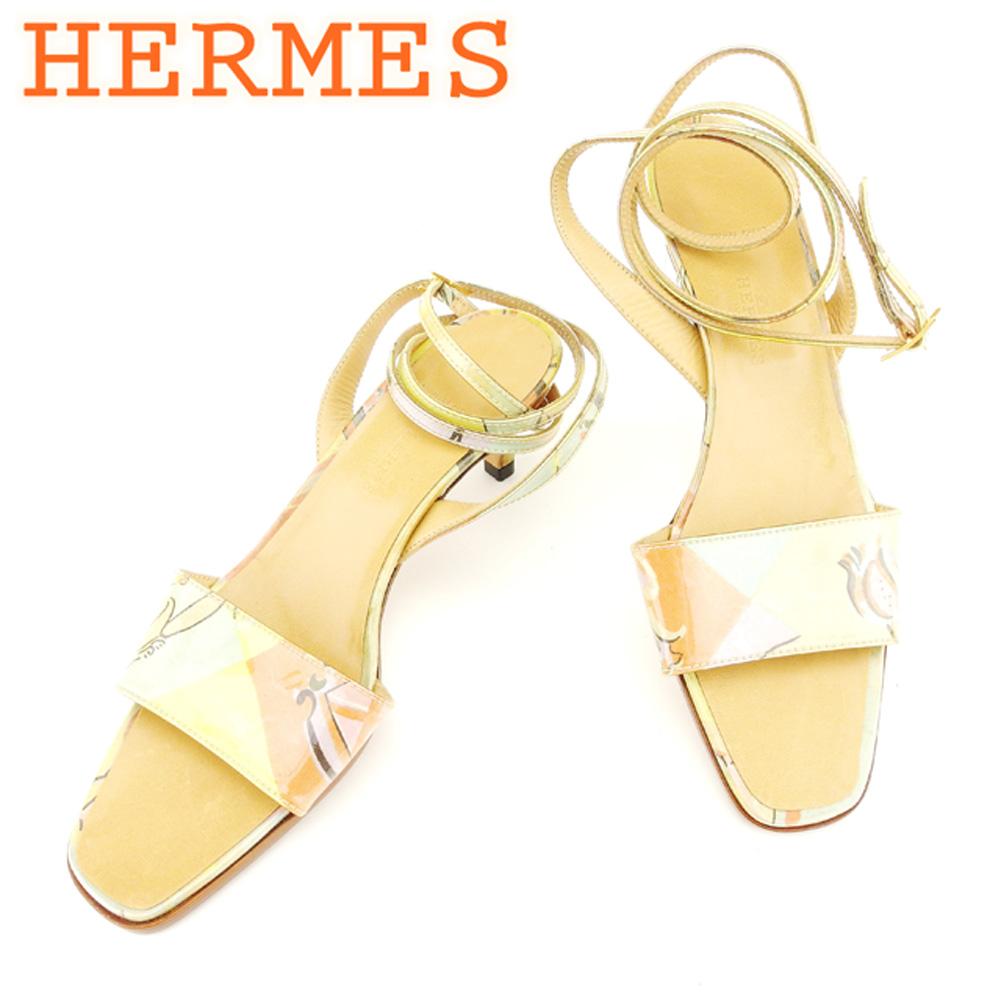 【中古】 エルメス HERMES サンダル シューズ 靴 レディース #36ハーフ ベージュ エナメル×レザー T6894