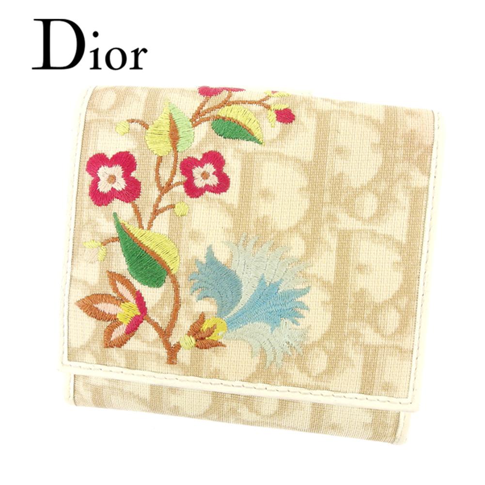 【中古】 ディオール Dior Wホック 財布 二つ折り 財布 レディース トロッター ベージュ PVC×レザー 人気 セール T6897