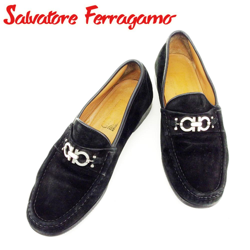 【中古】 サルヴァトーレ フェラガモ Salvatore Ferragamo シューズ 靴 メンズ #8ハーフ ガンチーニ ブラック スエード 人気 セール T6900 .