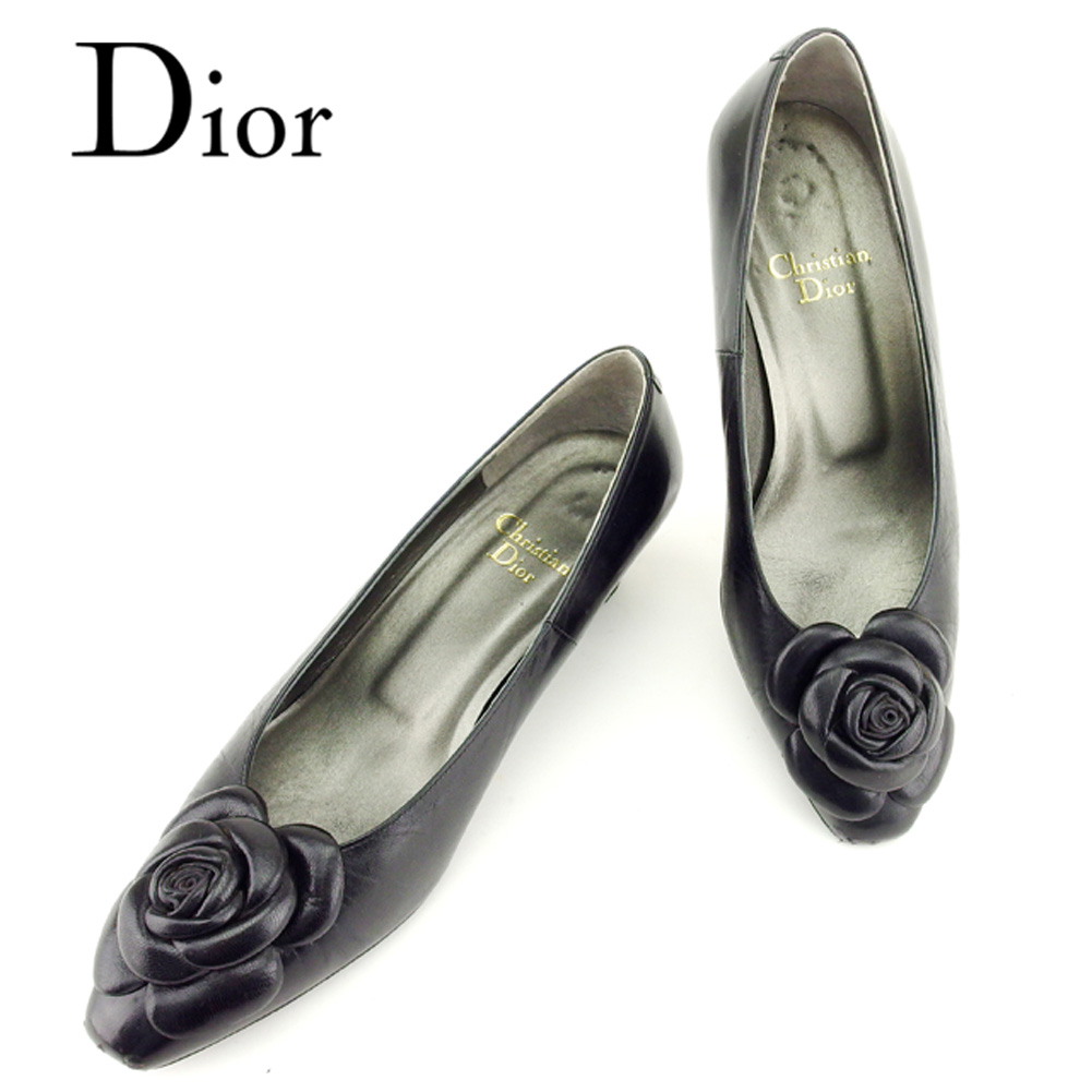 【中古】 ディオール Dior パンプス シューズ 靴 レディース #4ハーフ フラワーモチーフ ブラック レザー 人気 良品 T6901 .