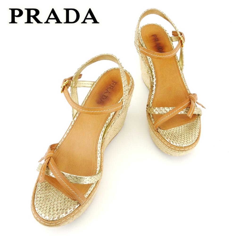 【中古】 プラダ PRADA サンダル シューズ 靴 レディース # 38ハーフ パイソン ベージュ ゴールド レザー 人気 セール T6908 .