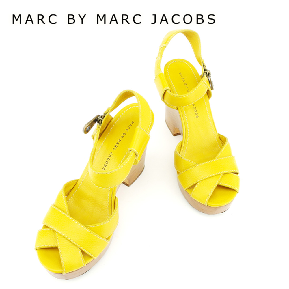 【中古】 マークバイマークジェイコブス MARC BY MARC JACOBS サンダル シューズ 靴 レディース #38サイズ イエロー レザー 人気 セール T6910 .